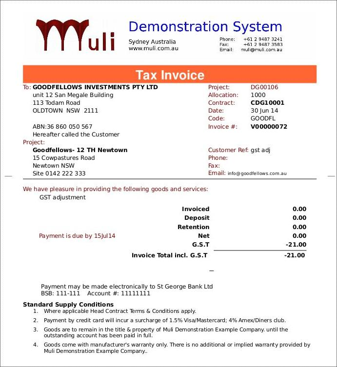 Sundry Invoice demo